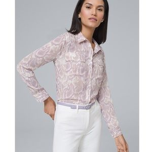 WHITE HOUSE BLACK MARKET • pink python blouse